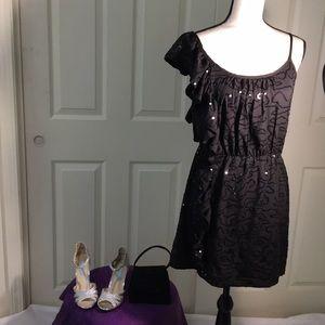 Dresses & Skirts - NWT: Black sequin ruffle shoulder dress